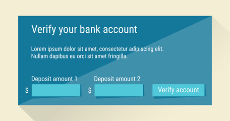 Bank account verification form / Account confirmation / Deposit verification