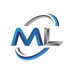 Simple initial letter logo modern swoosh ML