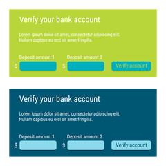 Bank account verification form / Account confirmation / Deposit verification