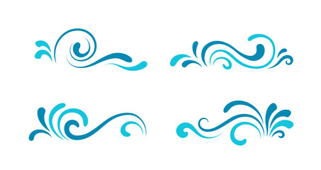 Set of wave icons, simple swirls isolated on white