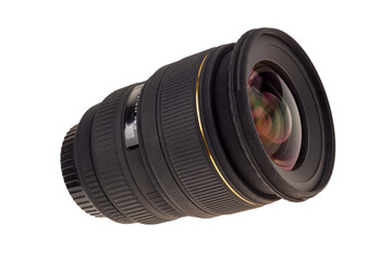 Lens of modern digital camera, view of front lens