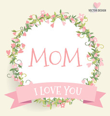 Happy Mother's Day, Floral bouquets with ribbon and heart, vector illustration