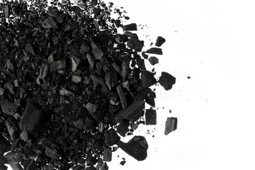 Pile of Carbon charcoal  dust on white background