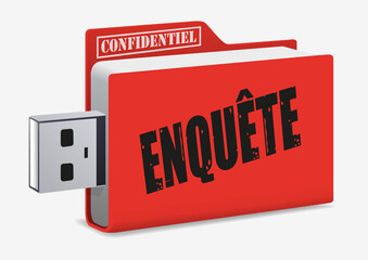 enquête - USB - dossier - confidentiel - clé USB -renseignement - information - document
