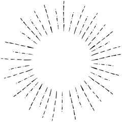 Image of Linear Hand Drawing of Rays of the Sun in Vintage or Hipster Style Illustraition.