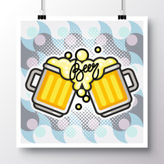 Poster with icon Beer mugs on a vintage pattern background. Vector illustration for wallpaper, flyers, invitation, brochure, greeting card, menu.