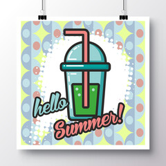 Poster with icon lemonade and phrase-Hello Summer on a vintage pattern background. Vector illustration for wallpaper, flyers, invitation, brochure, greeting card, menu.