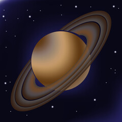 Saturn with its orbital rings. This planet of the solar system is depicted against a background of deep space, where stars are shining in the distance