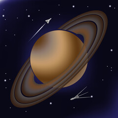 Saturn with its orbital rings from asteroids. Planet of the solar system is depicted against a background of deep space with stars. A spaceship and a research shuttle similar to Cassini flies past him