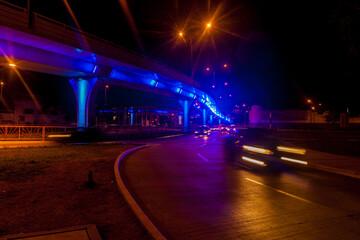 Night view of a road traffic in Trujillo, Peru