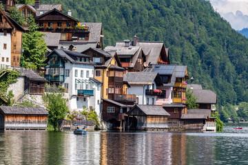 Hallstatt mountain village at Hallstattersee lake in the Austrian Alps in summer, Salzkammergut