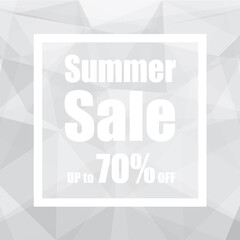 Summer Sale Up to 70% off with polygon abstract background style. design for a shop and sale banners.