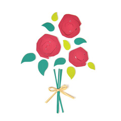 Bouquet of red roses paper cut on white background - isolated