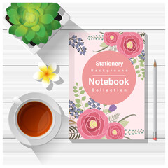 Summer scene with colorful notebook on wooden table background , vector , illustration