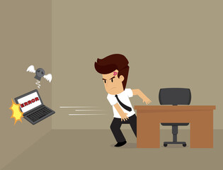 Businessman angry throwing, computer error