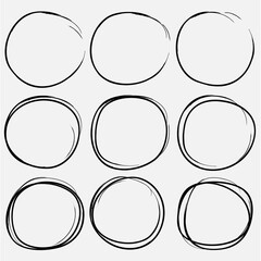 Set of hand drawn circle elements, Hand drawn sketch.
