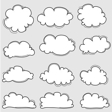 Hand Drawn Clouds Set. Vector Illustration.