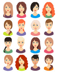 Set of beautiful female avatars