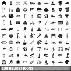 100 helmet icons set, simple style