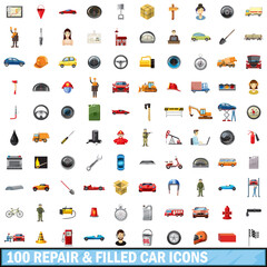 100 repair filled car icons set, cartoon style