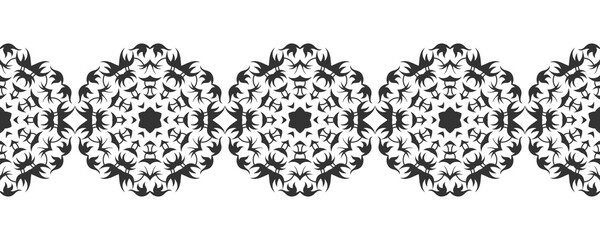 Ornate decorative snowflakes on a white background. Flat black silhouette, lace