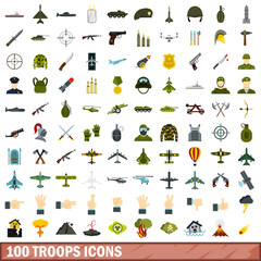 100 troops icons set, flat style