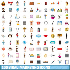 100 viral marketing icons set, cartoon style