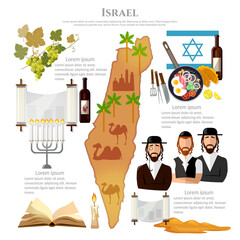 Israel tradition and culture. Travel vacation to Israel, attractions, culture, people, map Israel. Infographic template design
