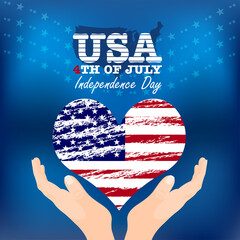 Creative Fourth of July Independence Day Poster. USA Flag In Form Of Heart. Vector Illustration.
