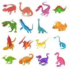 Dinosaur icons set, cartoon style
