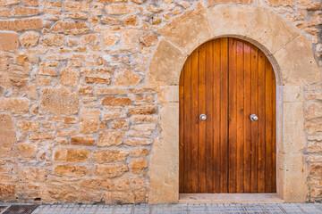 Haus Mediterran Detail Ansicht Holz Tür Und Stein Mauer