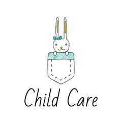Vector logo template for baby store or market. Cute little rabbit sitting in a pocket with green bow on his ear. Can be used for print on clothes for boys and girls, decoration, design banners, web. E