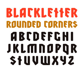 Sanserif font in black letter style with rounded corners
