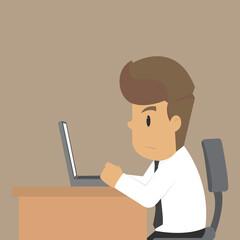 Business man work overtime