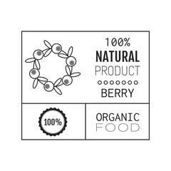 Organic food. Logo, badge, label for healthy eating, berry icon