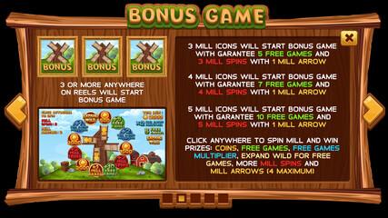 Info screen for slot game on wooden background. Vector illustration