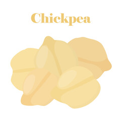 Chickpea, Bengal gram, chick peas made in cartoon flat style