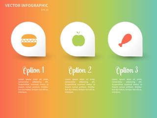 Vector colorful infographic template with food icons on the white background.