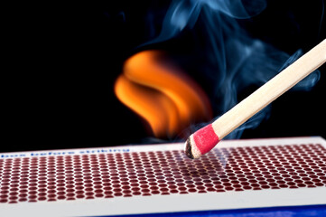 Matchstick on fire