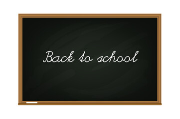 Vector black chalk board with wooden frame and message Back to school isolated on white background