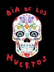 Mexican scull with flowers print for day of dead