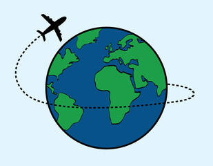 vector of airplane fly around the world