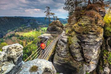 Famous stone formations near Bastei bridge in Germany, Saxon Switzerland