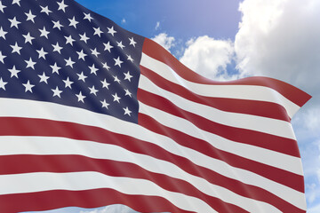 3D rendering of USA flag waving on blue sky background