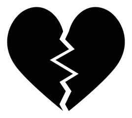 broken heart black icon vector