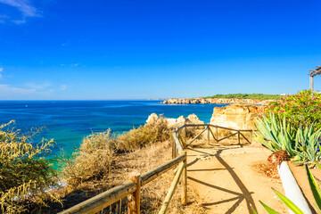 walkway over beach Praia da Rocha in Portimao, Algarve, Portugal Wall mural