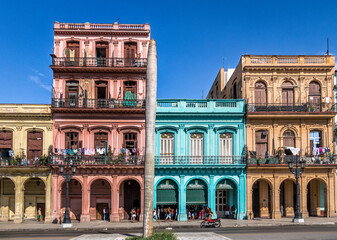 Colorful buildings in old Havana downtown Street - Havana, Cuba