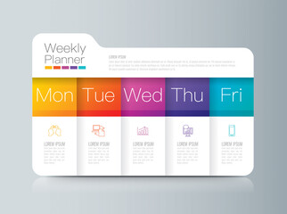 Weekly planner Monday - Friday infographics design.