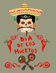 Greeting card for Mexican day of dead