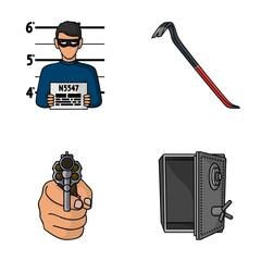 Photo of criminal, scrap, open safe, directional gun.Crime set collection icons in cartoon style vector symbol stock illustration web.